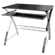 Premier Housewares Computer Table with Black Tempered Glass/Chrome Frame, 75 x 80 x 90 cm
