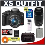 Canon Digital Rebel XS 10.1MP Digital SLR Camera (Black) + Canon EF-S 18-55mm IS Lens + Canon 75-300mm III Lens + Spare LP-E5 Battery + 16GB Card + Ga