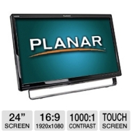Planar Systems Planar PXL2430MW 24 Class Widescreen LED Backlit Multi-Touch Monitor - 1080p, 1920 x 1080, 1000:1 Native, 60Hz, 5ms, HDMI, DVI, VGA, US