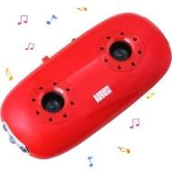 August MB100R Lecteur Baladeur MP3 Portable avec Haut-parleurs Stéréo Intégré et Lampe LED - Couleur: Rouge