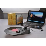Black USB Mini Turntable Converts Records To MP3 CD Revive Old Classics