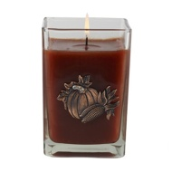 Pumpkin Spice Medium Glass Cube 12oz Candle By Aromatique