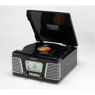 Steepletone Roxy 1 Record Player - 1960s Retro Style Turntable, MW/FM Radio & MP3 Playback - Glossy Black Model