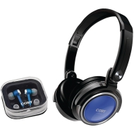 Coby Electronics CV215 Deep Bass Stereo Headphones and Earphones (Blue)