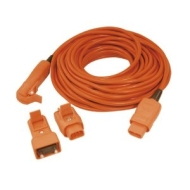 Masterplug Outdoor Power WREX2010-MP 20 m 2-Pin IP44 Extension Lead with Adaptors (Orange)