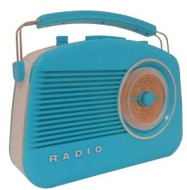 Steepletone Brighton 1950s Portable Retro Style Rotary Radio - Blue/White
