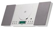 Denver 12120580 - Minicadena de música (CD-R/RW, entrada auxiliar, radio despertador, se puede montar en la pared), color blanco (importado)