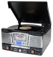 PYLE PTR8UB Retro Turntable with AUX Input-Radio-USB-SD-MP3 and Vinyl-to-MP3 Encoding - Black