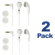 2 Pack Color Tunes White IN-EAR Headphones with Ear Cushions for all iPod & MP3 Players