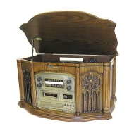 HeritageSeries Complete Home Audio System with CD and Cassette Player, 3-Speed Turntable and Stereo