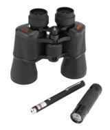 Optical Kit: 10x50 Binoculars, Green Laser Pointer, Red LED Flashlight