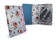 "Tuff-luv Etui Slim en tissu Style-livre pour Amazon Kindle 4 / Touch / Paperwhite / 6"" E-Ink e-reader -Bleu Pale ( Jardin Secret)"