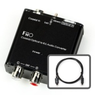 FiiO D3 Digital to Analog Audio Converter With Micca 6ft Optical Toslink Cable - 192kHz/24bit Optical and Coaxial DAC