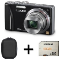 Panasonic Lumix TZ18 Digital Camera - Black + Case and 8GB Memory Card (14.1MP, 16x Optical Zoom) 3.0 inch LCD