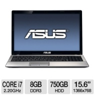 ASUS A53SD-TS72 Laptop Computer - Intel Core i7-2670QM 2.20GHz, 8GB DDR3, 750GB HDD, Blu-ray Player/DVDRW, 2GB NVIDIA GeForce GT 610M, 15.6 Display, W