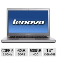 Lenovo IdeaPad U400 0993-2JU Notebook PC - Intel Core i5-2450M 2.5GHz, 6GB DDR3, 500GB HDD, DVDRW, 14 Display, Windows 7 Home Premium 64-bit