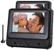 Odys Megaro Tragbarer DVD-Player/Fernseher mit zusätzlichem 23 cm (9 Zoll) Bildschirm (USB, SD-Card, DVB-T) schwarz