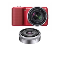 Sony NEX3AR NEX3ARK1 NEX-3A 14.2MP Digital Camera; 16mm 2.8 & 18-55 Lenses Red