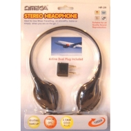 Omega HP-29 Stereo Over Ear Headphones Swivel 1.5m OFC Cable Aeroplane Adaptor