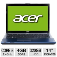 "Aspire AS4830T-32374G32Mtbb 14"" LED Notebook - Intel Core i3 i3-2370M 2.40 GHz (1366 x 768 HD Display - 4 GB RAM - 320 GB HDD - DVD-Writer - Intel HD"