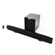 Aura Sound Aura 2.1 Powered Sound Bar with Wireless Subwoofer (Black Gloss, Single Bar/Single Woofer)