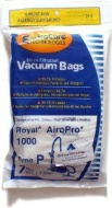 Royal AiroPro Type P Vacuum Bags 3-RY1100-001 - - 7 Pack + 1 Filter
