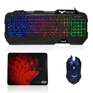 HAVIT® HV-KB558PCM Adjustable LED Backlit Brightness {UK Layout} Gaming Keyboard with 7 Flashing LED Light, 800/1200/1600/2400 DPI Mouse and Mouse Pad