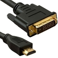 2m HDMI to DVI Cable - Pro Quality (100% Copper Wire & Oxygen Free OFC) ~ 1080p (Full HD) ~ v1.3 ~ Video ~ DVI-D (Dual Link) 24+1 Pins ~ 24k Gold Plat