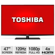 Toshiba 47L6200 47 Class LED 3D HDTV - 1080p 120Hz HDMI USB PC Input Wi-Fi DynaLight Smart TV Refurbished