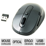 MS-W288 Wireless Optical Mouse - Nano USB Receiver 3-Button 2.4 GHz Ergonomic Design Plug and Play Compatible with PC and MAC 16 Auto-Hopping Channels