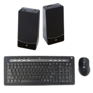 V7 Wireless Keyboard Mouse Combo with Free PC Speakers