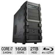Systemax SYX SG-130 Gaming PC - INTEL CORE i7 2600k 3.4 GHz, Genuine Windows 7 Professional 64 Bit, DUAL - 1GB RADEON HD6770 GFX, 16GB DDR3, 2TB 7200r