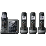 Panasonic DECT 6.0 Plus Cordless Phone System (KX-TG7644M) with Answering Machine, 4 Handset - Black