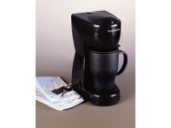 Toastess Black Personal Coffee Maker with Thermal Travel Mug