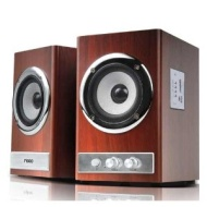 24W RMS 2.0 Channel Wooden Speaker Home Hifi System SD Card and USB Flash Drive Playback Compatible with Any 3.5mm Audio Line-in Device Desktop Laptop