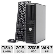 Dell Optiplex 745 Desktop PC - Intel Core 2 Duo 2.4GHz, 2GB DDR2, 320GB HDD, CD-RW/DVD-ROM Combo, Windows 7 Home Premium 32-bit, Mouse & Keyboard (Off