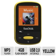 "SanDisk Clip Sport - Digital player - flash 4 GB - display: 1.44"" - yellow"