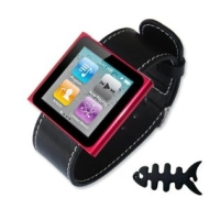 Fist2savvv black Ipod Nano 6th Generation Watch Strap + Fish bone earphone wrapper