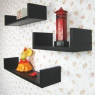 TRIO - Wall Mounted Storage / Display Shelves - Set of 3 - Black