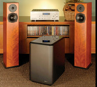 Totem Acoustic Sttaf Loudspeakers, Outlaw Audio LFM-2 Subwoofer, and Outlaw Audio RR2150 Stereo Receiver