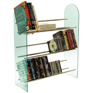 LUXOR - 3 Tier Media Storage Shelf Rack - Glass / Chrome