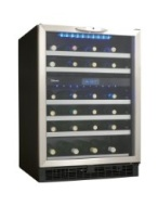 "Danby DWC518BLS Silhouette Stilton 24"" Built-in Dual-Zone Wine Cellar with 51-Bottle Capacity Stainless Steel Trimmed Roller Glide Shelves and Digital"