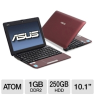 ASUS 1015PE-BRD603 - Netbook PC- Intel Atom N450 1.66 GHz - 1 GB RAM - 250 GB Hard Drive - Red