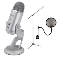 Blue Microphones Yeti USB Condenser Plug-and-Play Microphone with On Stage Boom Microphone Stand & Pop Filter