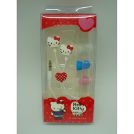 Hello Kitty heart earphone with box + 3 pairs of spare earbuds