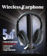 5-in-1 Hi-Fi Wireless Headphones for HDTV, TV, VCD, PC, MP3, MP4, CD, DVD w/FM Radio