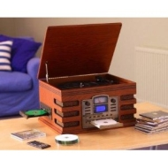 EDINBURGH NOSTALGIA RETRO 5-IN-1 MUSIC SYSTEM WITH CD BURNER/ Vinyl to CD, CD to CD, Cassette to CD, Radio to CD & Aux to CD! (Record your CD's and vi