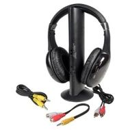 Wireless 5 in 1 Monitoring Headphones w/ FM Radio & Mic (Black)