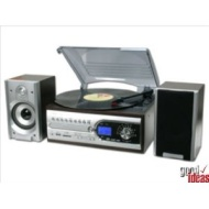 USB 4in1 MUSIC SYSTEM (744)-RECORD PLAYER-CD-RADIO-MP3 (colour: Rosewood & silver)