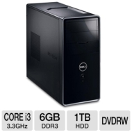 Dell Inspiron I620-1272NBK Desktop PC - Intel Core i3-2120 3.3GHz, 6GB DDR3, 1TB HDD, DVDRW, Windows 7 Home Premium 64-bit